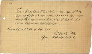 Ludwig Ritz bescheinigt die Zeit der Illegalität für Elisabeth Wehrheim © Hessisches Hauptstaatsarchiv Wiesbaden, Abt. 518-32493