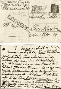 Eine der vielen Postkarten aus dem Lager Theresienstadt. Im Nachlass von Wilhelm Wagner im Institut für Stadtgeschichte Frankfurt/Main. © Institut für Stadtgeschichte Frankfurt/Main