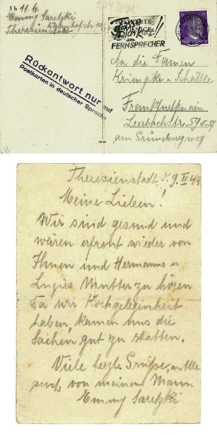 """Emmy Saretzki schickt ein Lebenszeichen aus dem Ghetto Theresienstadt an die Familie Baumeister. Um sie nicht zu gefährden, bedient sie sich der Anschrift gemeinsamer Bekannter, die sie als """"Mischlinge 1. Grades"""" weniger gefährdet einschätzt. © Marion Schmidt"""