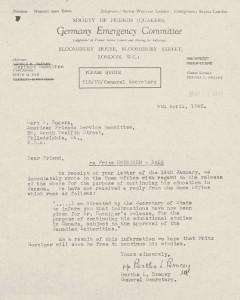 """Die britische Quäkerin Bertha Bracey informiert ihre amerikanischen """"Freunde"""" über den Bescheid des Londoner Home Office zur Entlassung von Fritz Höniger aus einem kanadischen Camp. © Collection 2002.296, Case Nr. 3416, US Holocaust Memorial Museum Washington"""