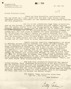 Mathilde (Tilly) Cahn bedankt sich bei der Quäkerin Hertha Kraus für die Hilfe bei der Ausreise ihrer Tochter Tilly mit einem Kindertransport. © Collection 2002.296, Case Nr. 347, US Holocaust Memorial Museum Washington