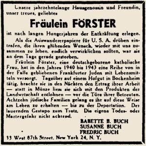 """Anzeige in der Exilanten-Zeitschrift """"Aufbau"""" vom 6. Dezember 1946"""