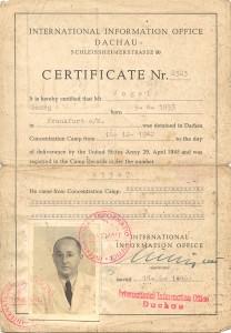Nach 2 ½ Jahren Haft wird Georg Vogel aus dem KZ Dachau 1945 entlassen. © Studienkreis Deutscher Widerstand 1933-1945, Frankfurt am Main