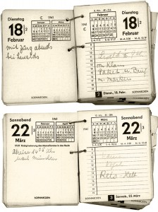 Eintrag im Soennecken-Kalender über den Erhalt von Lebensmittelmarken © Klaus Schaefer
