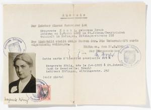 """Ersatzdokument für Margarete Knewitz auf den Namen """"Margarete König"""", das Pfarrer Kurt Müller, Stuttgart, für die Zeit der Illegalität besorgt. © Erica Ludolph"""
